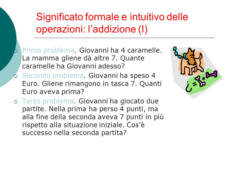 Significato formale e intuitivo delle operazioni: l'addizione (I)