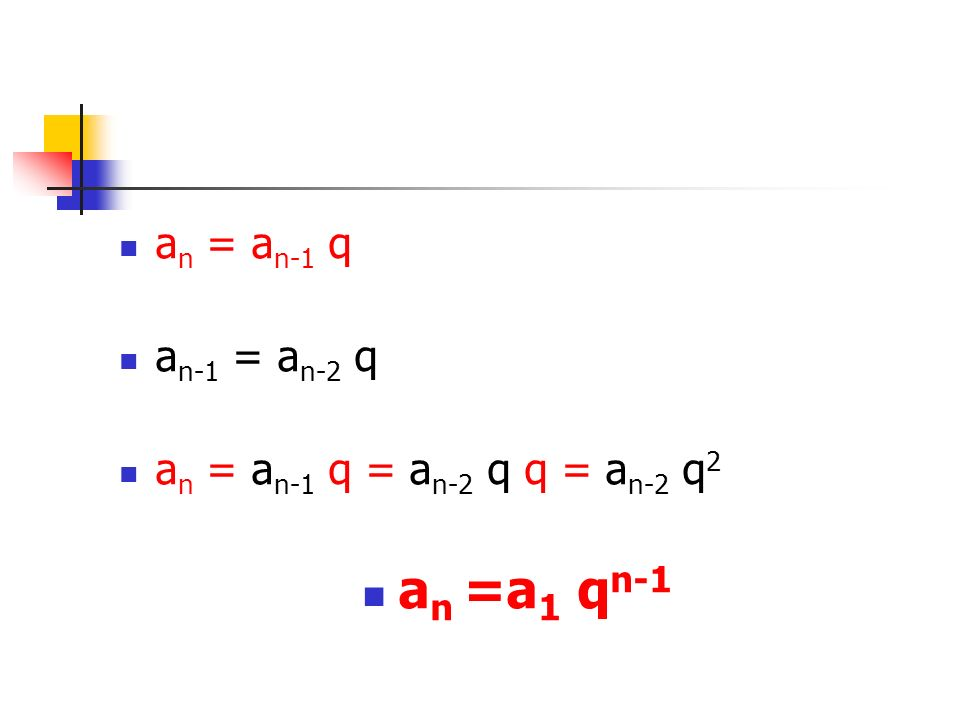 an = an-1 q an-1 = an-2 q an = an-1 q = an-2 q q = an-2 q2 an =a1 qn-1