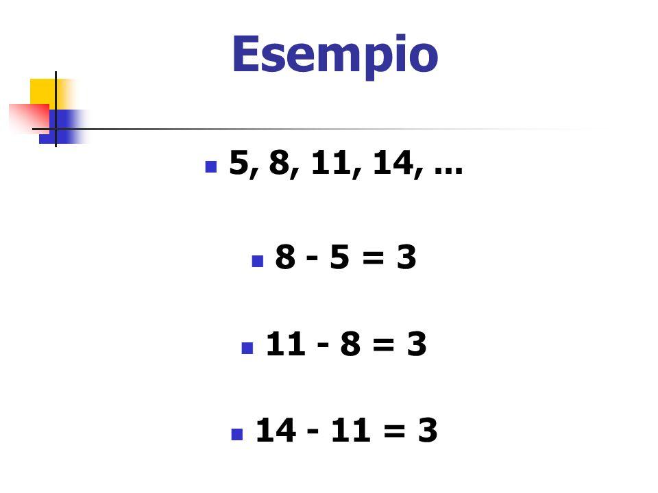 Esempio 5, 8, 11, 14, ... 8 - 5 = 3 11 - 8 = 3 14 - 11 = 3