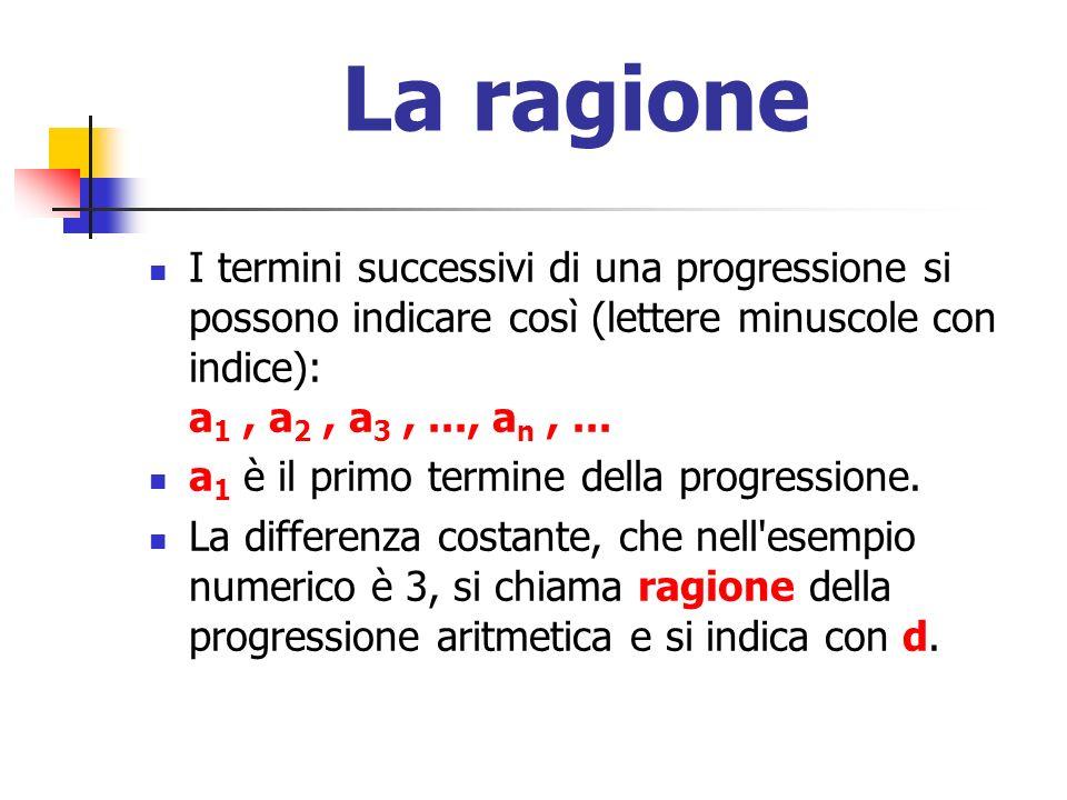La ragioneI termini successivi di una progressione si possono indicare così (lettere minuscole con indice): a1 , a2 , a3 , ..., an , ...