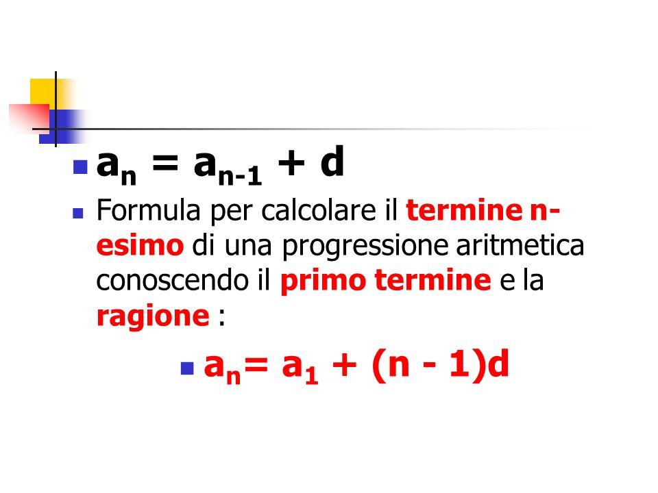 an = an-1 + dFormula per calcolare il termine n-esimo di una progressione aritmetica conoscendo il primo termine e la ragione :