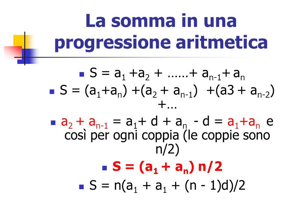 La somma in una progressione aritmetica