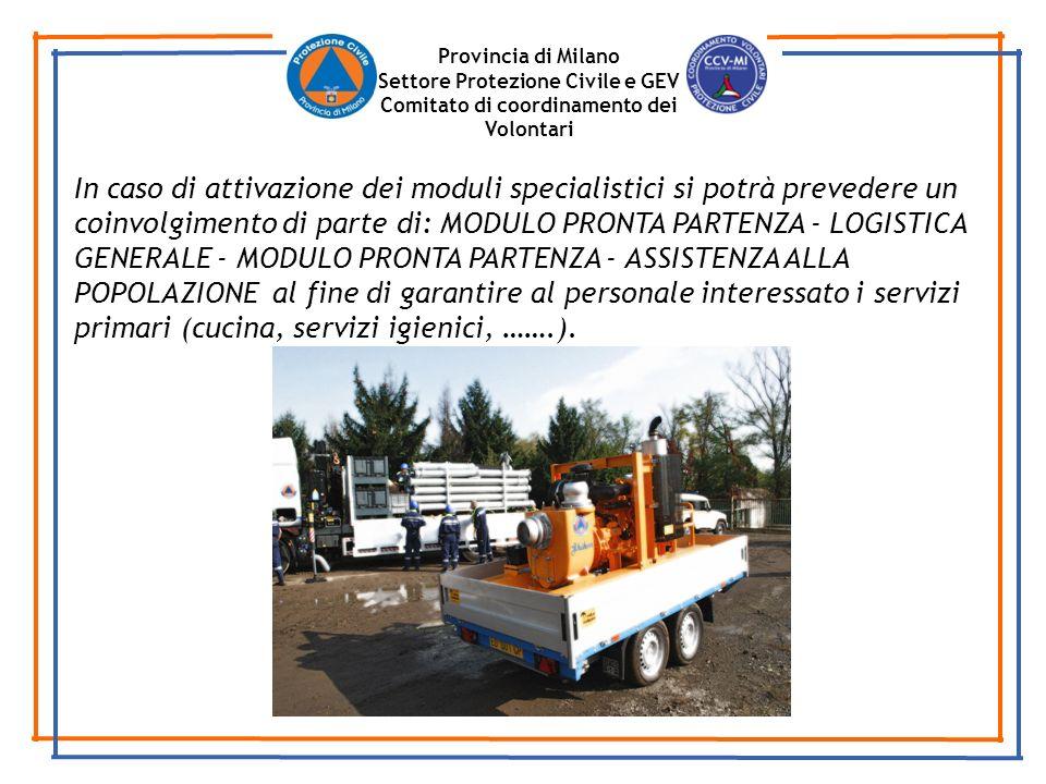 Provincia di Milano Settore Protezione Civile e GEV. Comitato di coordinamento dei Volontari.