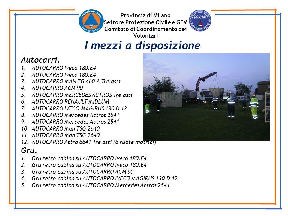 I mezzi a disposizione Autocarri. Gru. Provincia di Milano