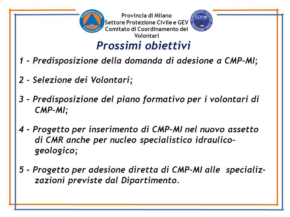 Provincia di Milano Settore Protezione Civile e GEV. Comitato di Coordinamento dei Volontari. Prossimi obiettivi.
