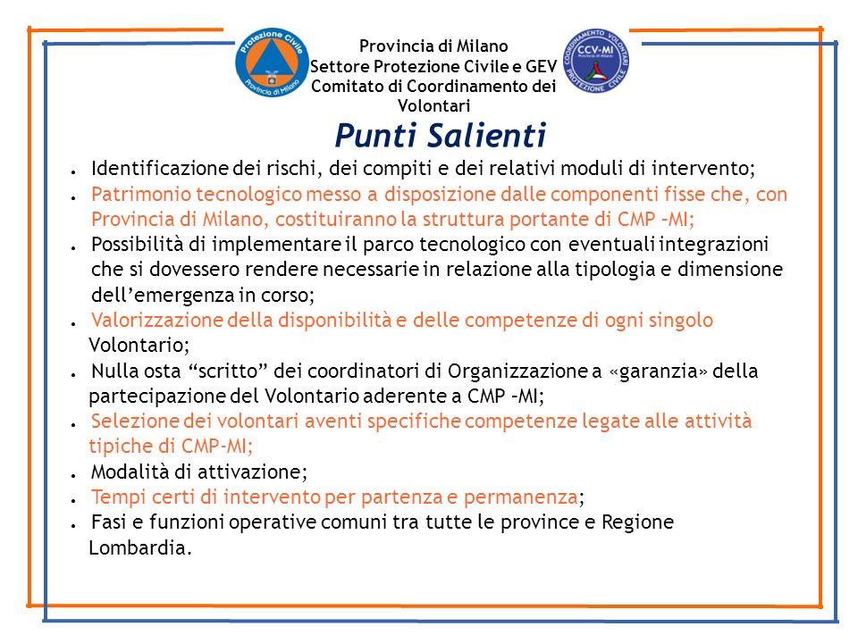 Provincia di Milano Settore Protezione Civile e GEV. Comitato di Coordinamento dei Volontari. Punti Salienti.