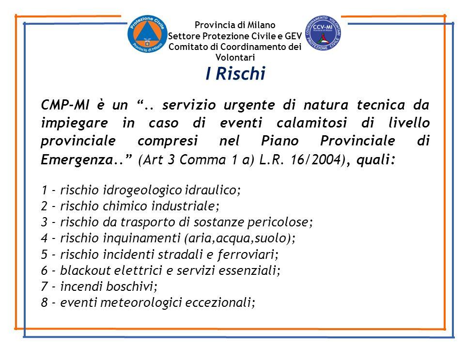 Provincia di Milano Settore Protezione Civile e GEV. Comitato di Coordinamento dei Volontari. I Rischi.