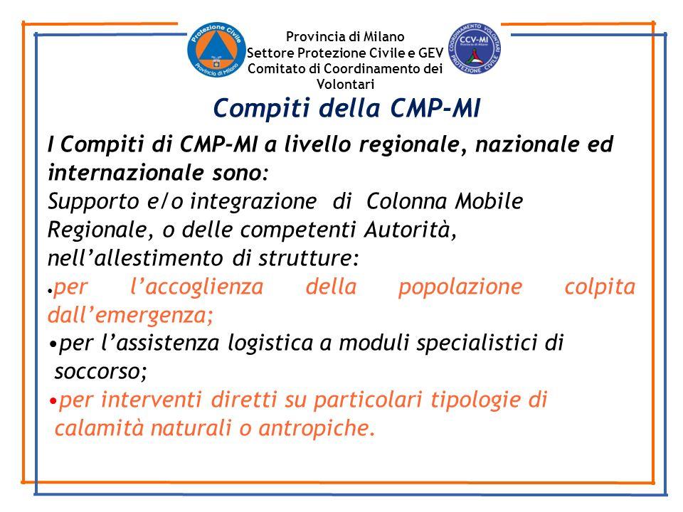 Provincia di Milano Settore Protezione Civile e GEV. Comitato di Coordinamento dei Volontari. Compiti della CMP-MI.