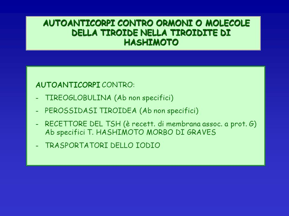 AUTOANTICORPI CONTRO ORMONI O MOLECOLE DELLA TIROIDE NELLA TIROIDITE DI HASHIMOTO