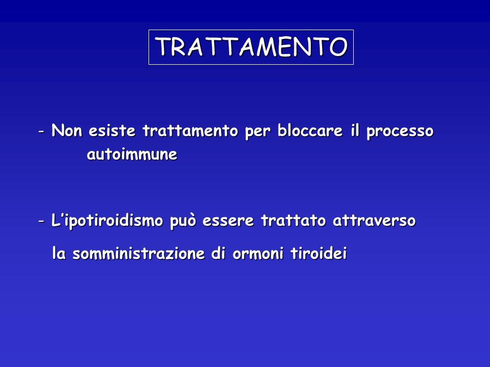 TRATTAMENTO Non esiste trattamento per bloccare il processo autoimmune