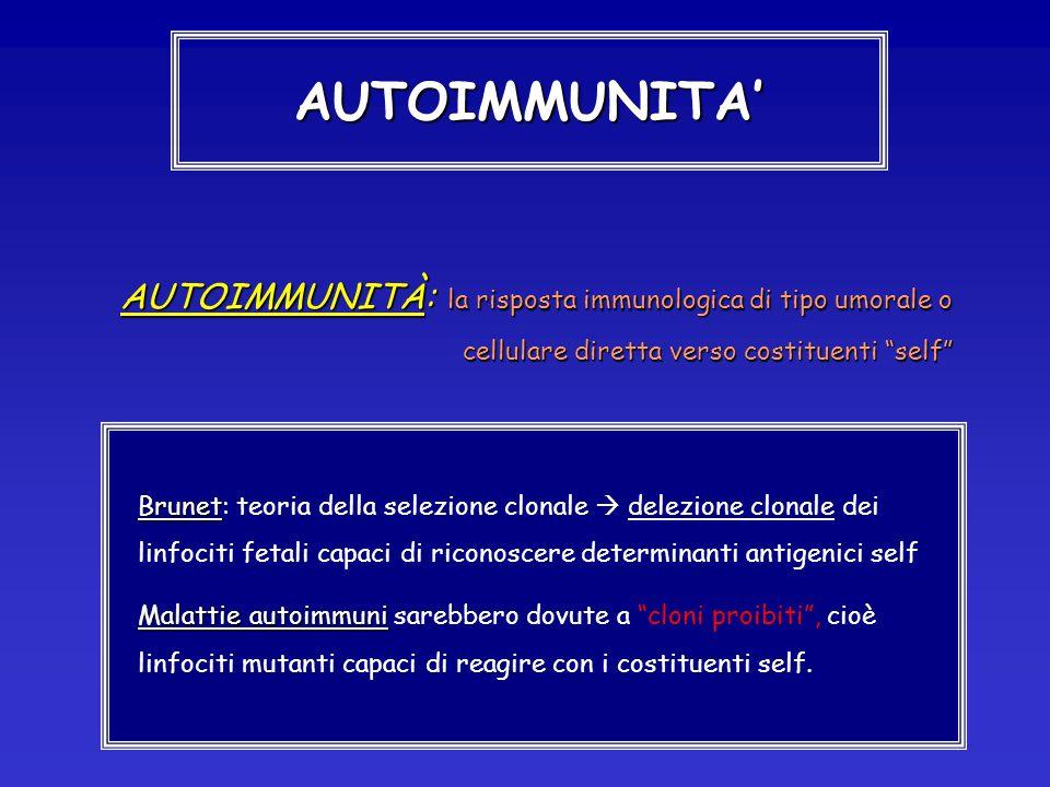 AUTOIMMUNITA' AUTOIMMUNITÀ: la risposta immunologica di tipo umorale o cellulare diretta verso costituenti self