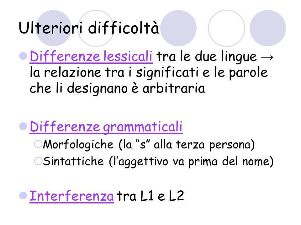 Ulteriori difficoltà Differenze lessicali tra le due lingue → la relazione tra i significati e le parole che li designano è arbitraria.