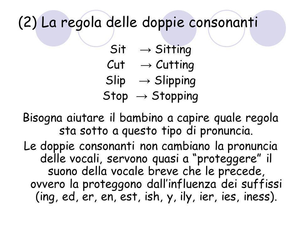 (2) La regola delle doppie consonanti