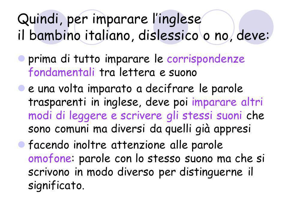 Quindi, per imparare l'inglese il bambino italiano, dislessico o no, deve: