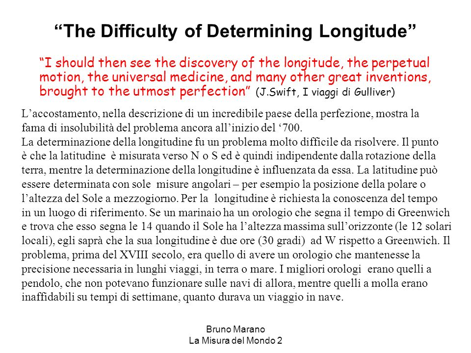 The Difficulty of Determining Longitude