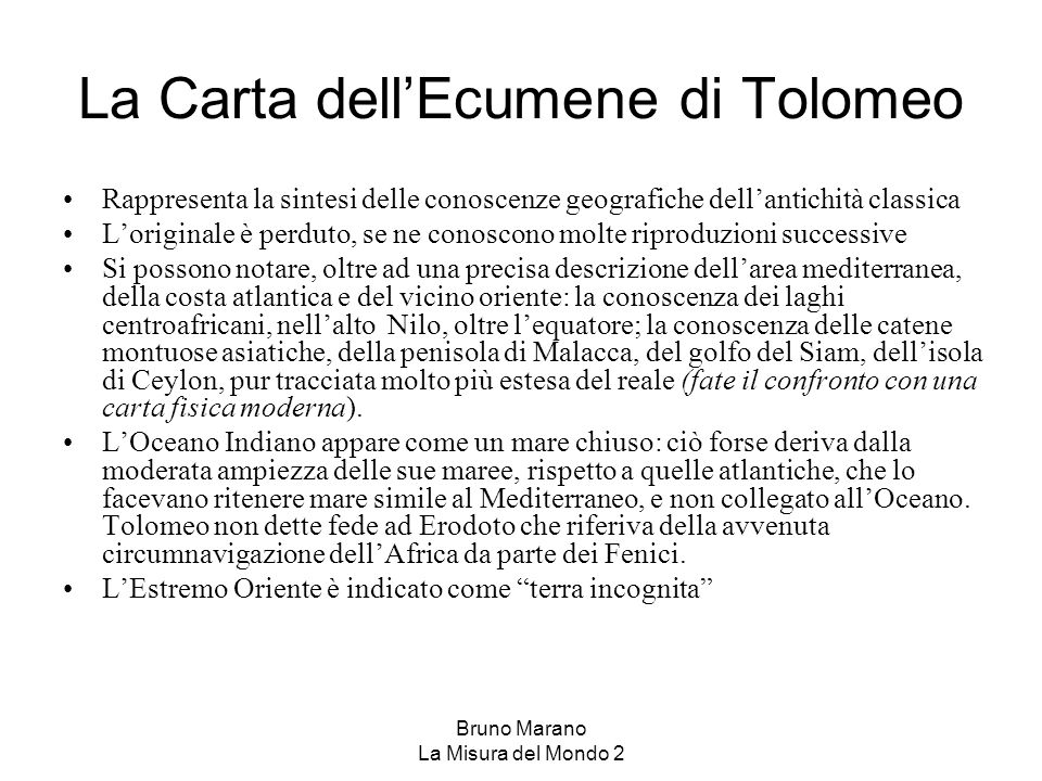 La Carta dell'Ecumene di Tolomeo