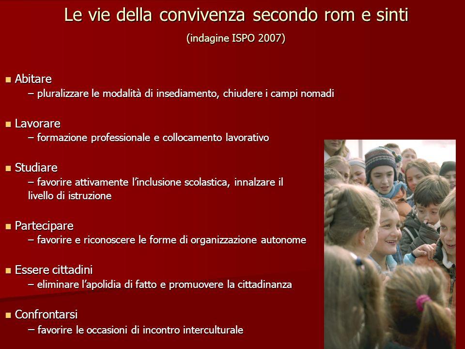 Le vie della convivenza secondo rom e sinti (indagine ISPO 2007)