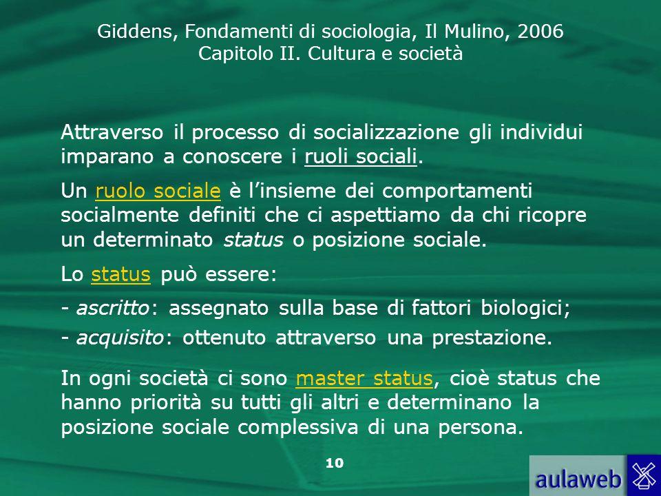 Attraverso il processo di socializzazione gli individui imparano a conoscere i ruoli sociali.