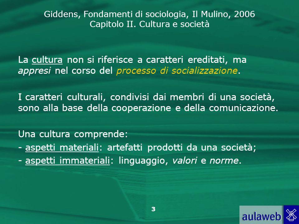 La cultura non si riferisce a caratteri ereditati, ma appresi nel corso del processo di socializzazione.