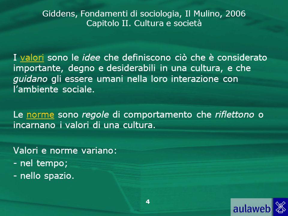 I valori sono le idee che definiscono ciò che è considerato importante, degno e desiderabili in una cultura, e che guidano gli essere umani nella loro interazione con l'ambiente sociale.