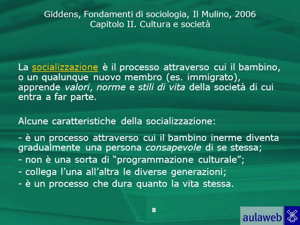 La socializzazione è il processo attraverso cui il bambino, o un qualunque nuovo membro (es. immigrato), apprende valori, norme e stili di vita della società di cui entra a far parte.