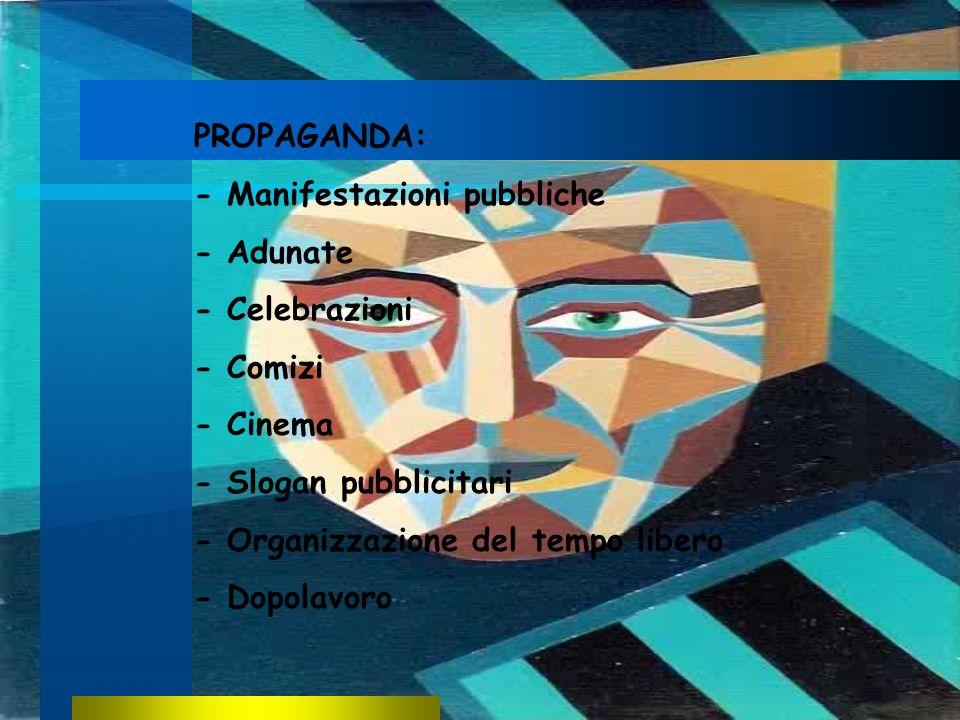 PROPAGANDA:- Manifestazioni pubbliche. - Adunate. - Celebrazioni. - Comizi. - Cinema. - Slogan pubblicitari.