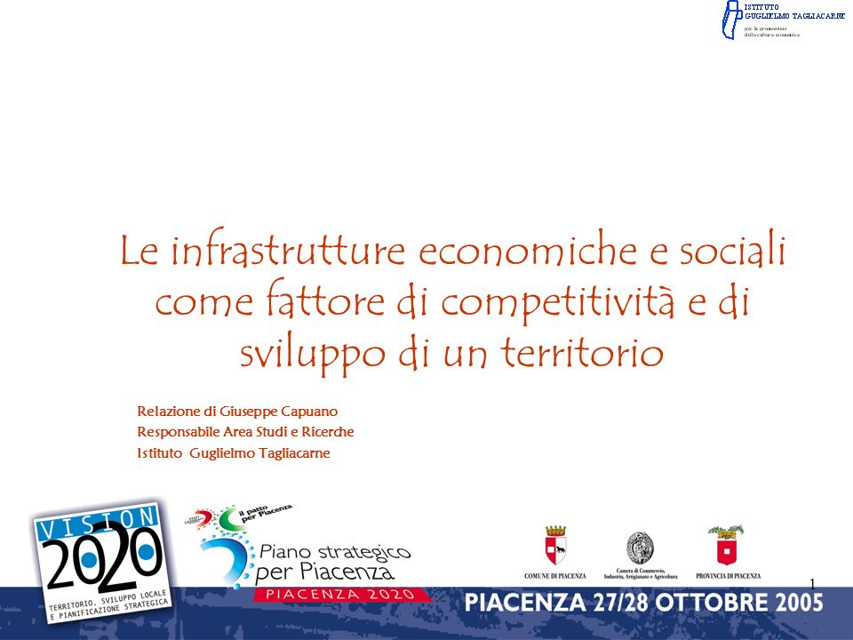 Le infrastrutture economiche e sociali come fattore di competitività e di sviluppo di un territorio