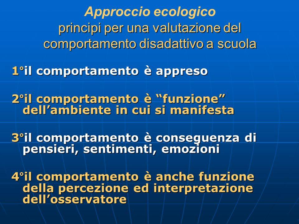 Approccio ecologico principi per una valutazione del comportamento disadattivo a scuola