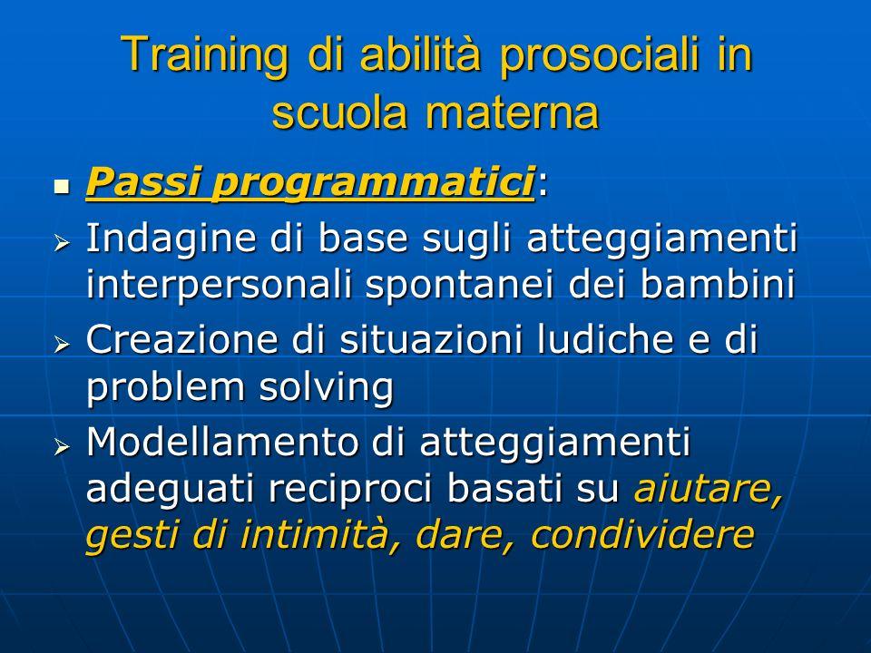 Training di abilità prosociali in scuola materna