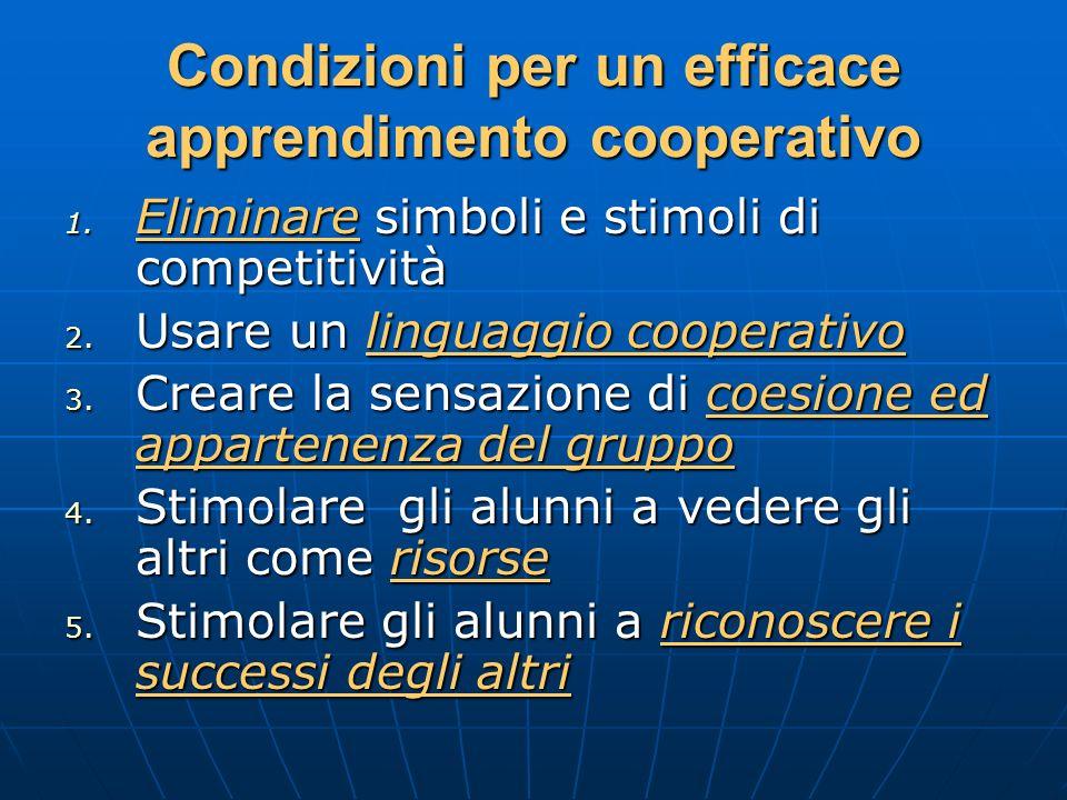 Condizioni per un efficace apprendimento cooperativo