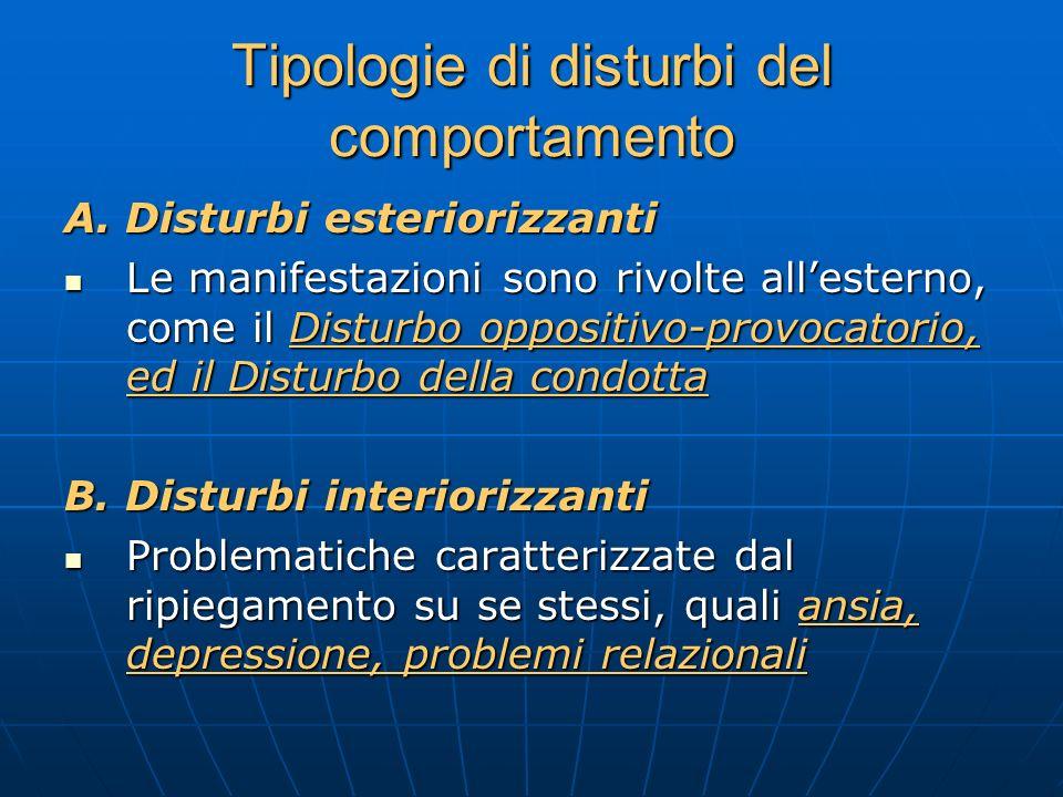 Tipologie di disturbi del comportamento