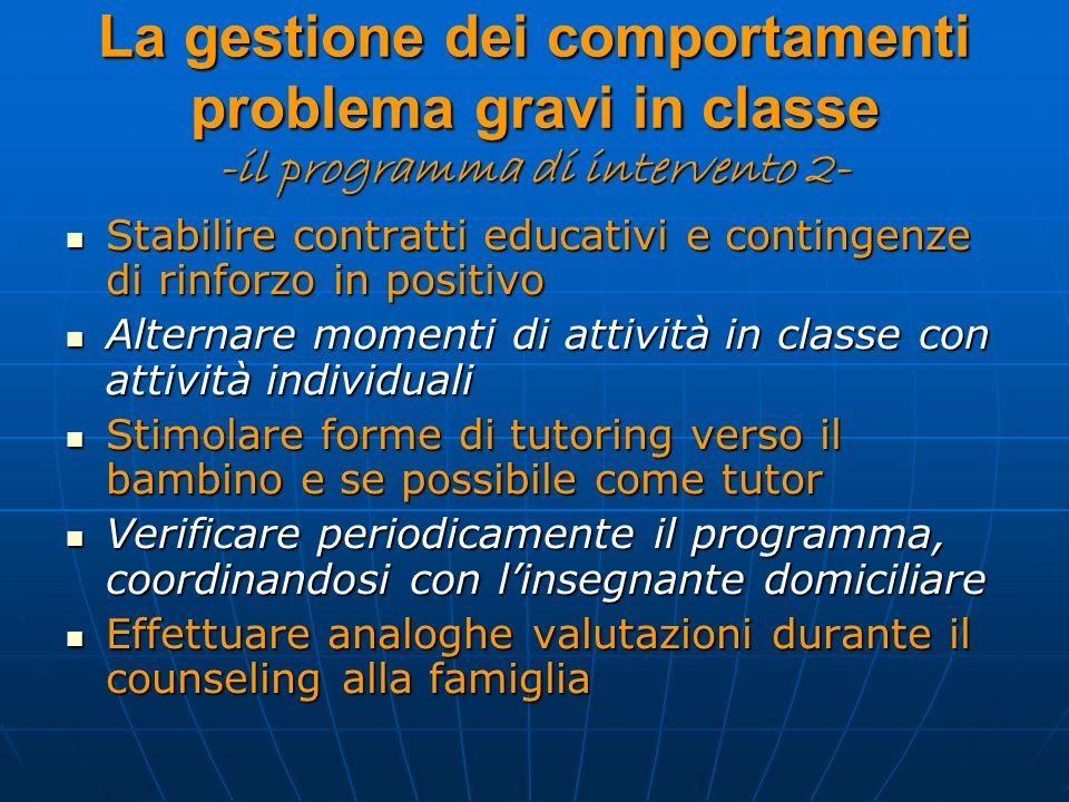La gestione dei comportamenti problema gravi in classe -il programma di intervento 2-