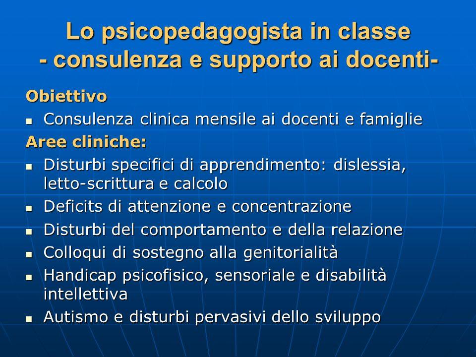 Lo psicopedagogista in classe - consulenza e supporto ai docenti-