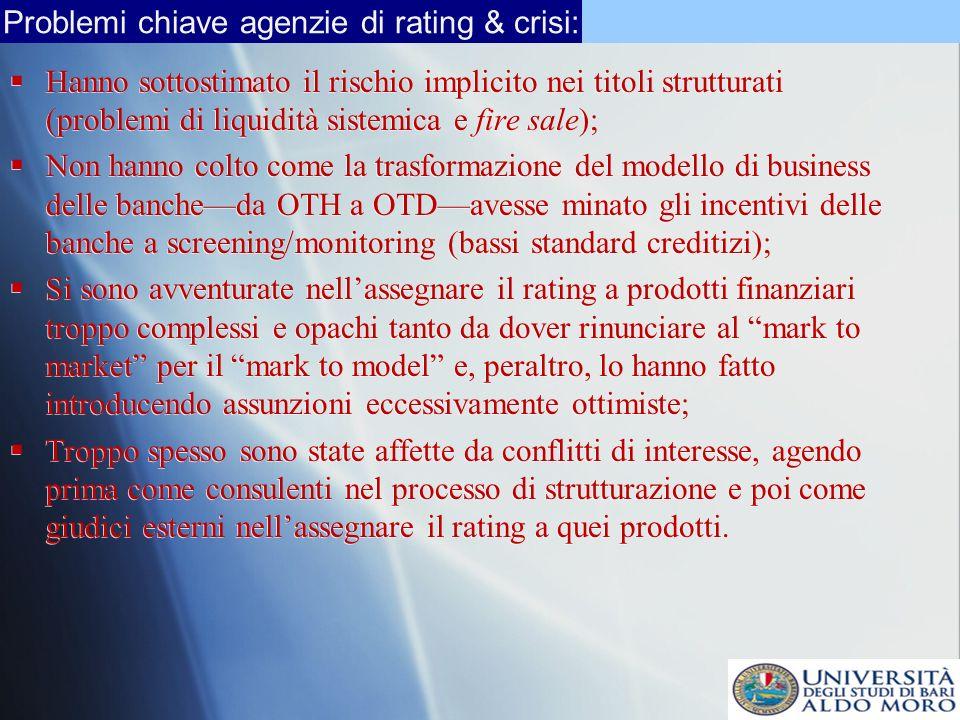 Problemi chiave agenzie di rating & crisi: