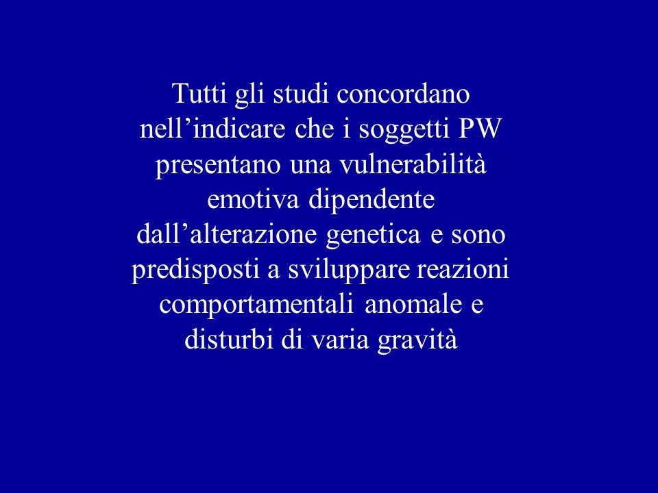 Tutti gli studi concordano nell'indicare che i soggetti PW presentano una vulnerabilità emotiva dipendente dall'alterazione genetica e sono predisposti a sviluppare reazioni comportamentali anomale e disturbi di varia gravità