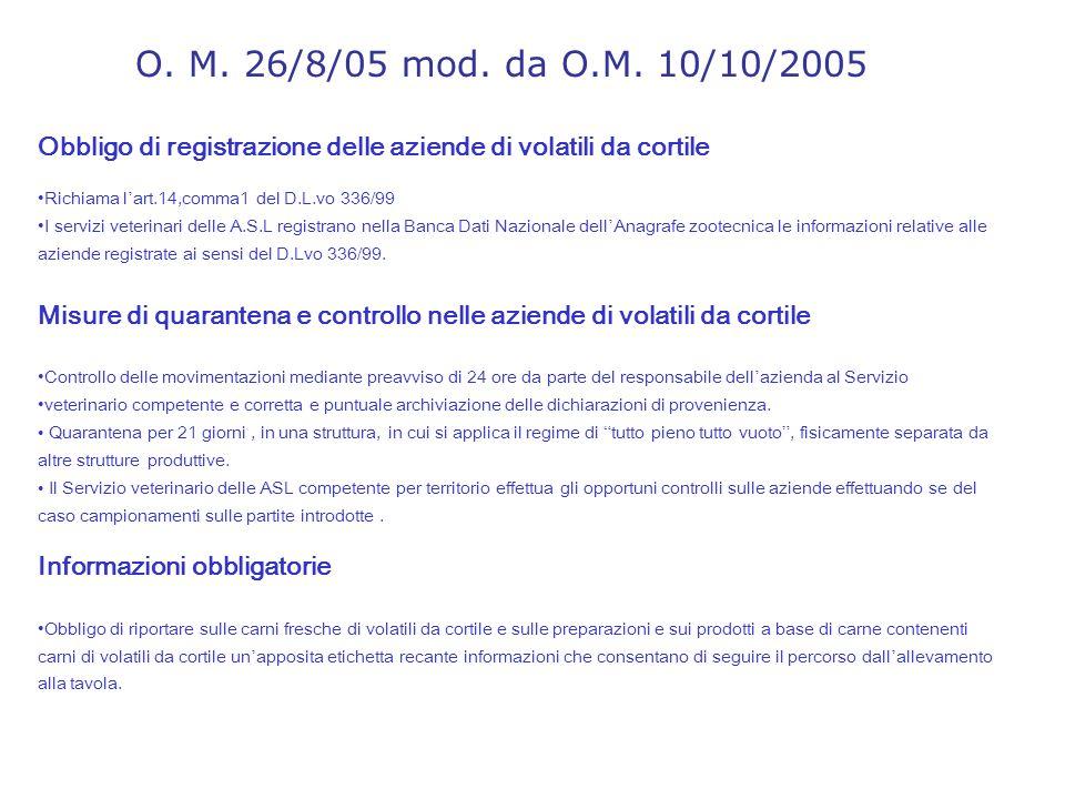 O. M. 26/8/05 mod. da O.M. 10/10/2005 Obbligo di registrazione delle aziende di volatili da cortile.