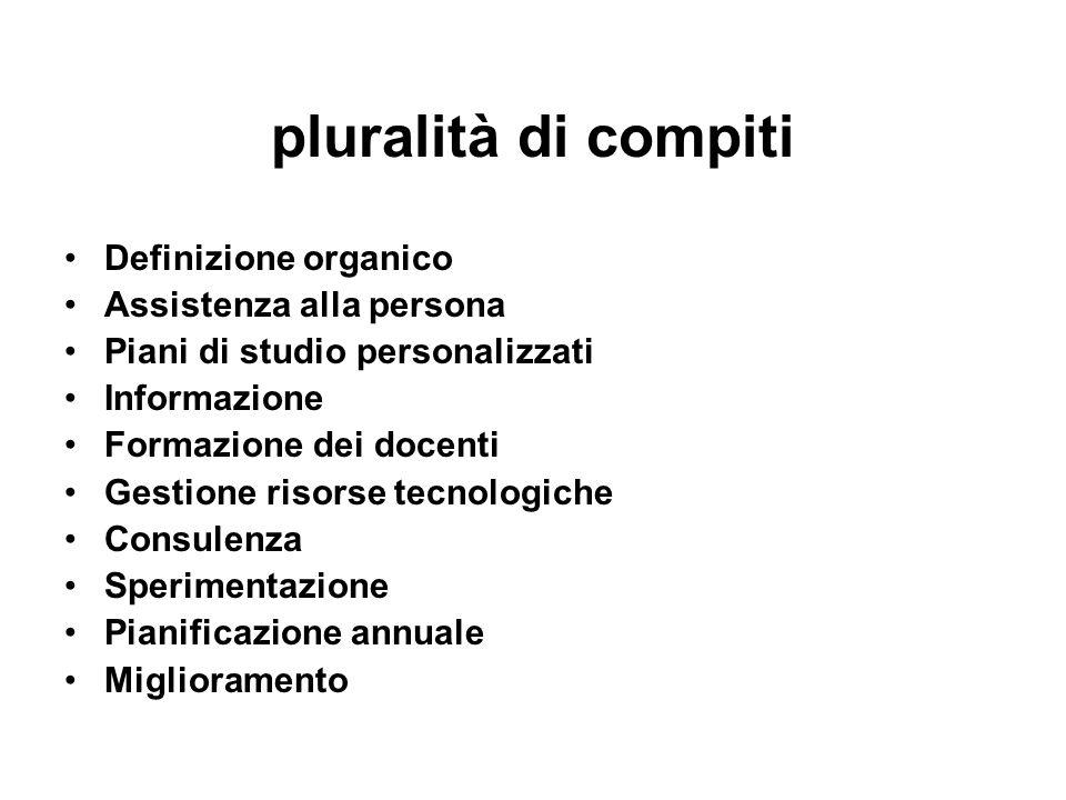 pluralità di compiti Definizione organico Assistenza alla persona