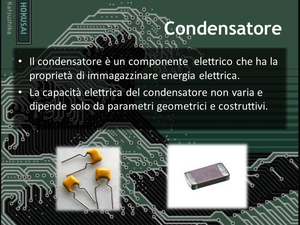 Condensatore Il condensatore è un componente elettrico che ha la proprietà di immagazzinare energia elettrica.