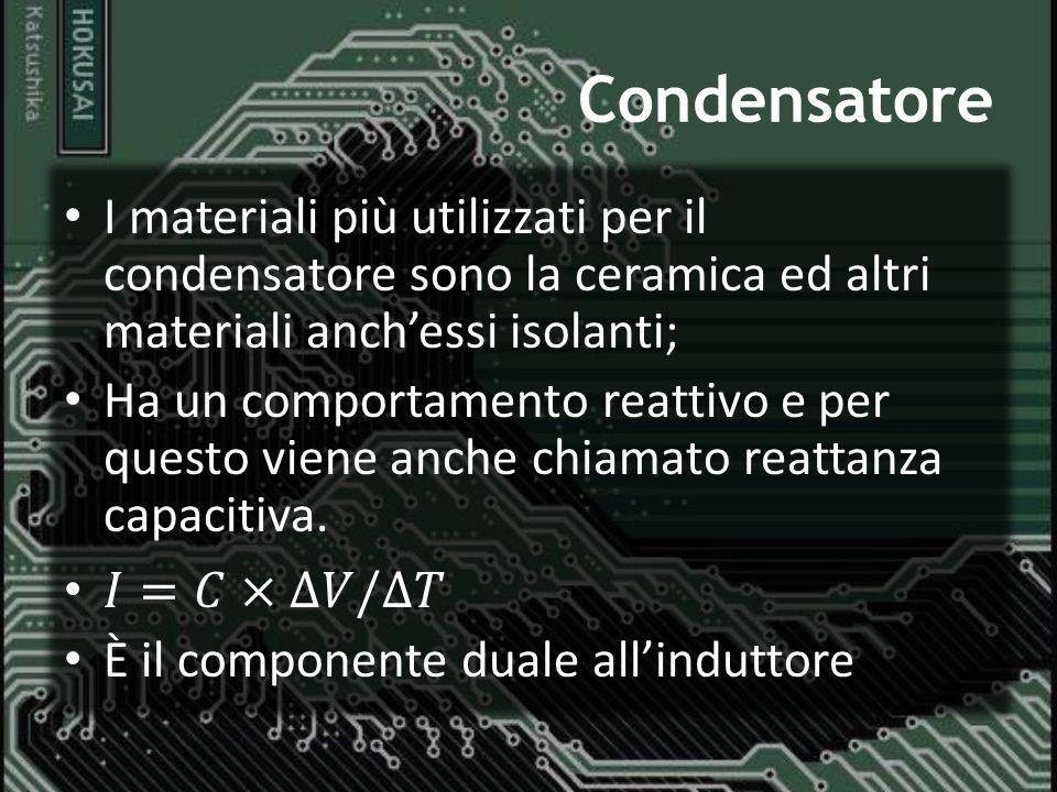 Condensatore I materiali più utilizzati per il condensatore sono la ceramica ed altri materiali anch'essi isolanti;