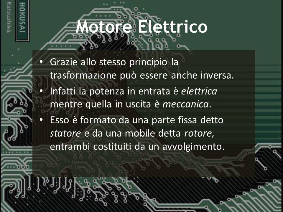 Motore Elettrico Grazie allo stesso principio la trasformazione può essere anche inversa.