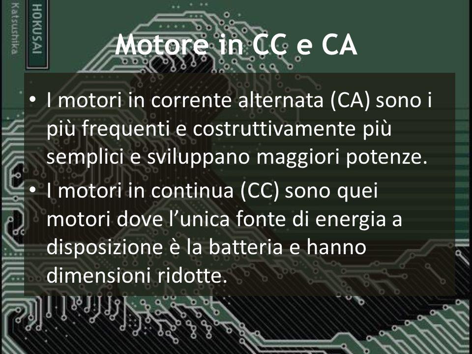 Motore in CC e CA I motori in corrente alternata (CA) sono i più frequenti e costruttivamente più semplici e sviluppano maggiori potenze.