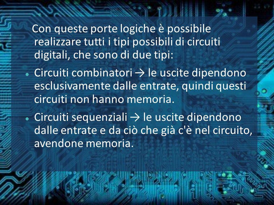 Con queste porte logiche è possibile realizzare tutti i tipi possibili di circuiti digitali, che sono di due tipi: