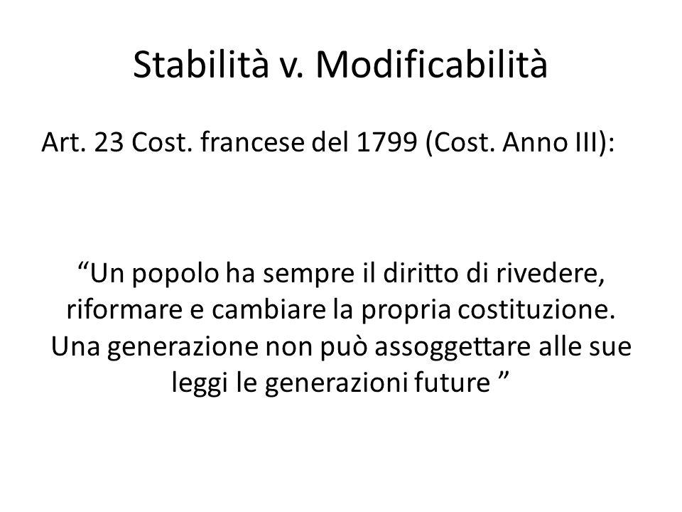 Stabilità v. Modificabilità