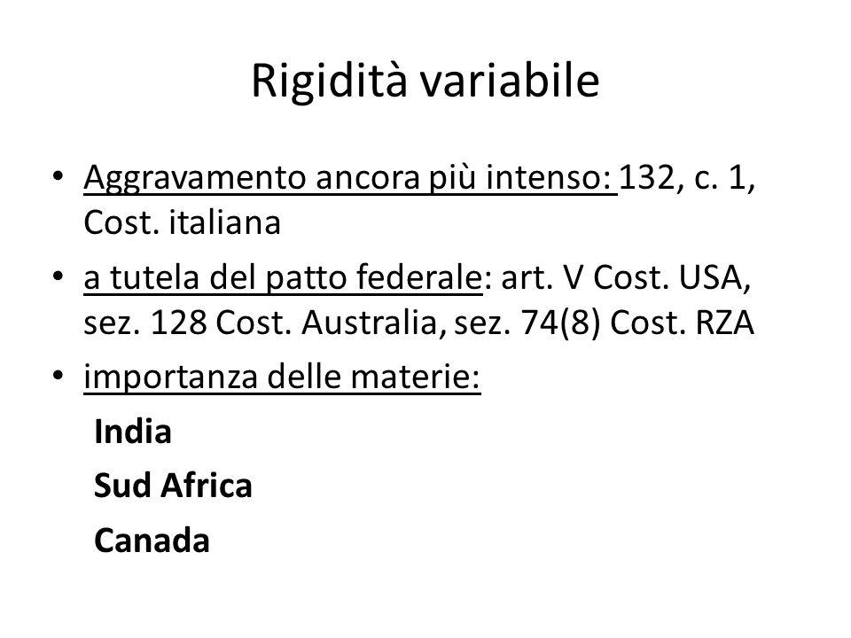 Rigidità variabile Aggravamento ancora più intenso: 132, c. 1, Cost. italiana.