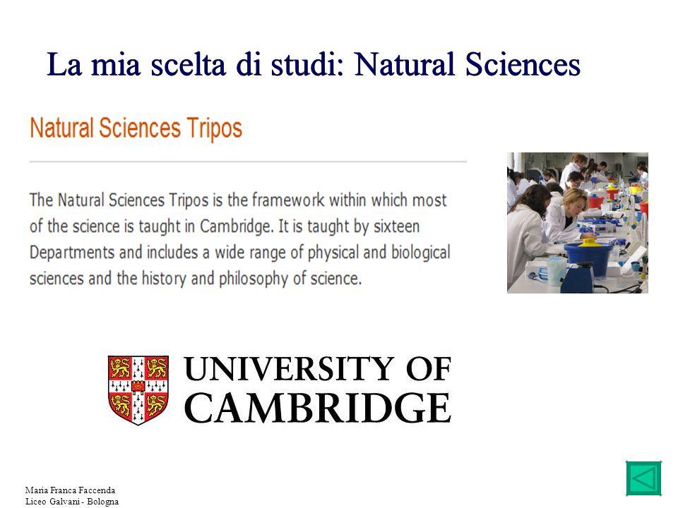 La mia scelta di studi: Natural Sciences