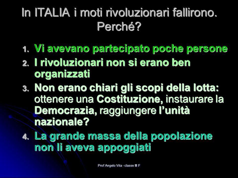In ITALIA i moti rivoluzionari fallirono. Perché