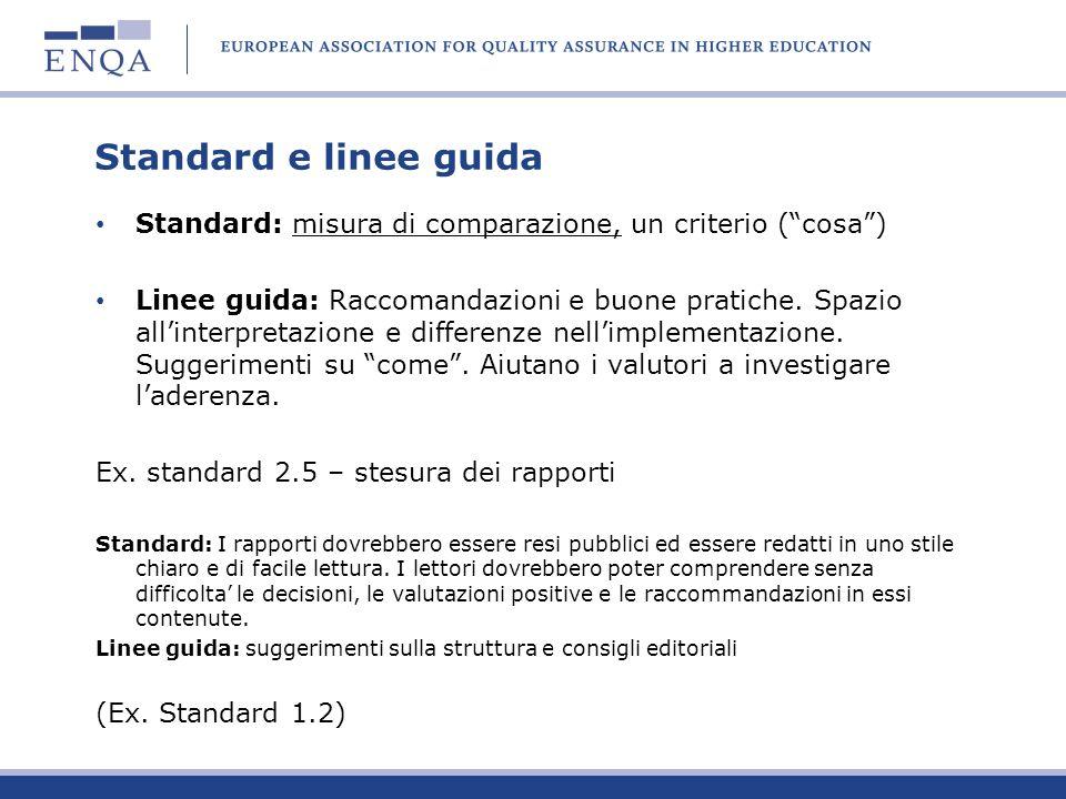 Standard e linee guida Standard: misura di comparazione, un criterio ( cosa )