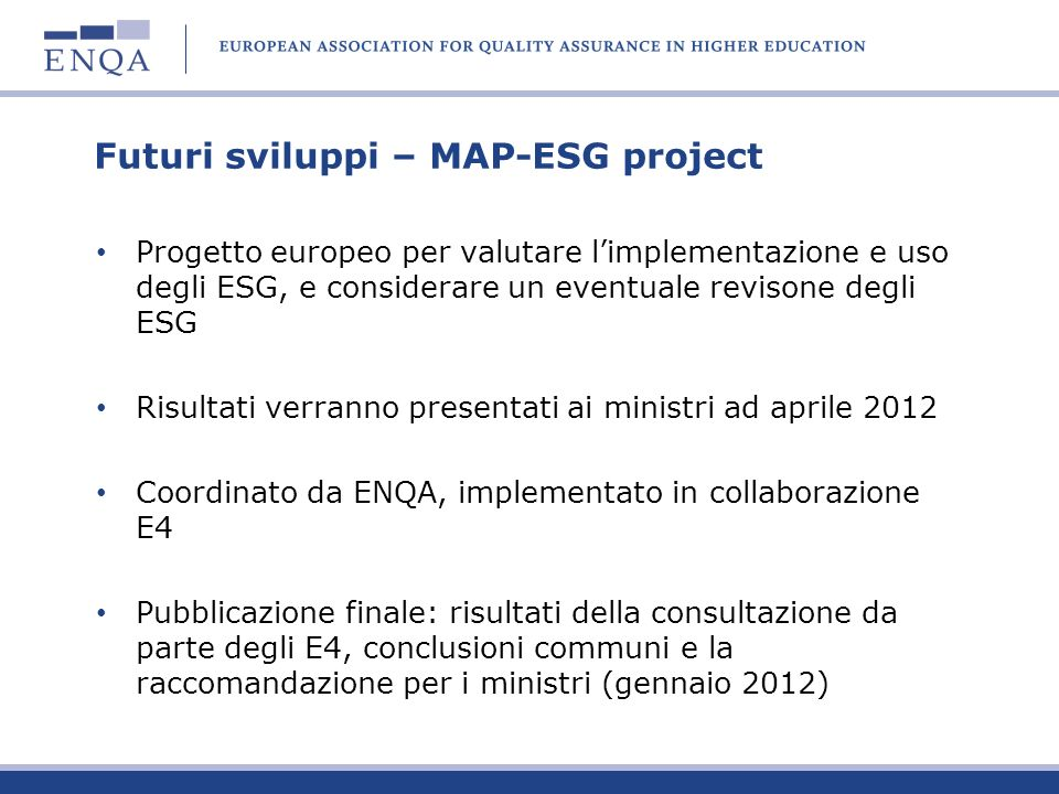 Futuri sviluppi – MAP-ESG project