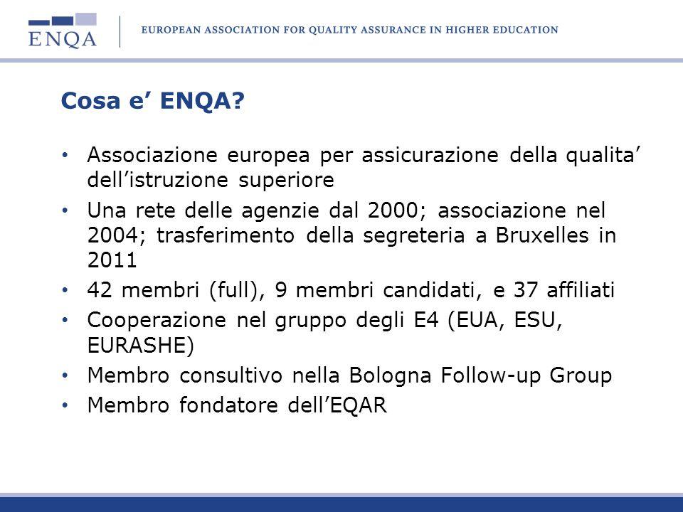 Cosa e' ENQA Associazione europea per assicurazione della qualita' dell'istruzione superiore.