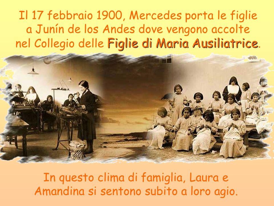 Il 17 febbraio 1900, Mercedes porta le figlie a Junín de los Andes dove vengono accolte nel Collegio delle Figlie di Maria Ausiliatrice.